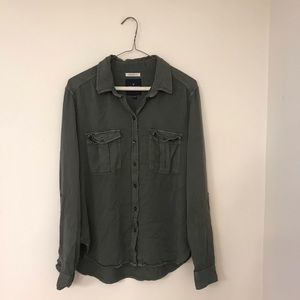 Boyfriend Fit Army Green Button Down Shirt